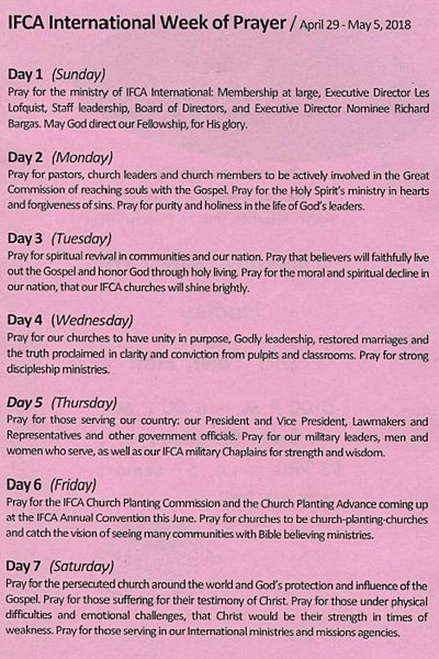 IFCA International Week of Prayer – Hadley Community Church
